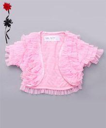 Soul Fairy Trendy Girls Net Ruffle Shrug - Pink