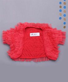 Soul Fairy Trendy Girls Net Ruffle Shrug - Coral