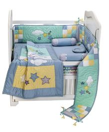 Blooming Buds Lullaby Printed Cot Bedding Set 6 Pieces - Blue
