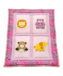 Blooming Buds Jungle Friends Printed Baby Quilt - Pink