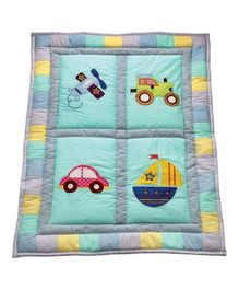 Blooming Buds Transport Printed Baby Quilt - Blue