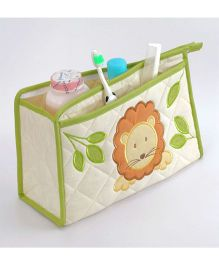 Blooming Buds Lion Printed Toiletry Bag - Green & Biege