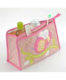Blooming Buds Honey Bee Printed Toiletry Bag - Pink