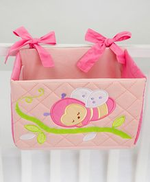 Blooming Buds Honeybee Printed Cot Tidy Hanging Pocket - Pink