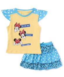 Bodycare Cap Sleeves Top And Skirt Set Minnie Print - Blue Yellow