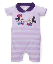 Bodycare Half Sleeves Romper Mickey Minnie Print - Lavender