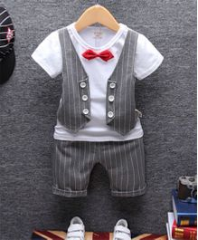 Pre Order - Tickles 4 U Waist Coat Tee With Shorts - Grey