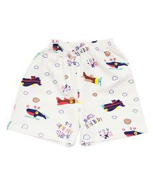 Kiwi Aeroplane Printed Shorts - Off White Multicolor