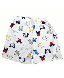 Kiwi Cartoon Printed Shorts - White Multicolor