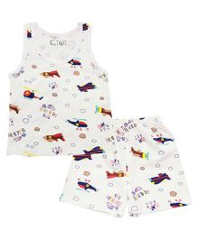 Kiwi Sleeveless Aeroplane Printed Vest With Shorts - Off White Multicolor