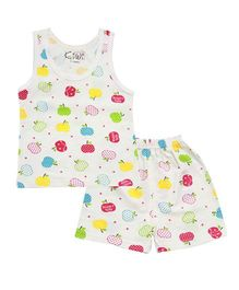 Kiwi Apple Printed Vest with Shorts - Off White Multicolor