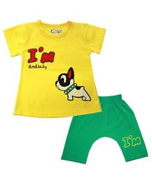Kiwi Half Sleeves Puppy Printed T- Shirt  With Bottoms - Yellow & Green