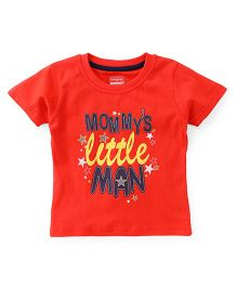 Babyhug Half Sleeves T-Shirt Little Man Print - Red