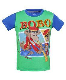 Imagica Half Sleeves T-Shirt Bobo Print - Royal Blue & Green