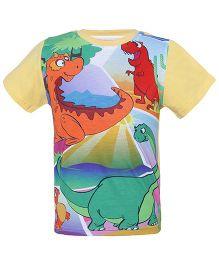 Imagica Half Sleeves T-Shirt Dino Printed - Yellow