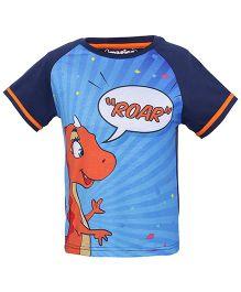 Imagica Raglan Sleeves T-Shirt Roar Print - Navy Blue