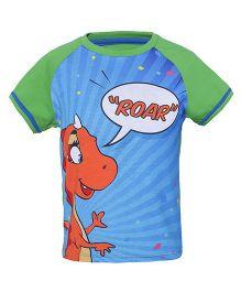 Imagica Raglan Sleeves T-Shirt Roar Print - Green