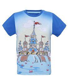 Imagica Half Sleeves T-Shirt Castle Print - Royal Blue