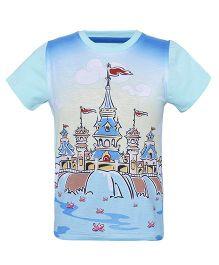 Imagica Half Sleeves T-Shirt Castle Print - Light Blue