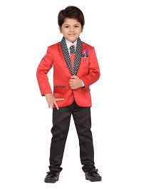AJ Dezines Full Sleeves Blazer Shirt Trouser Tie & Brooch Set - Red
