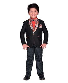 AJ Dezines Full Sleeves Blazer Shirt & Trouser With Bow Tie - Black