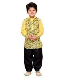 AJ Dezines Full Sleeves Pathani Suit - Yellow Black