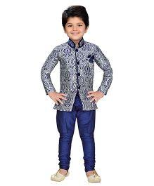 AJ Dezines Indo Western Sherwani Suit - Navy Blue