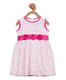 Campana Sleeveless Frock Floral Applique - White Pink