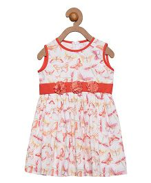 Campana Sleeveless Frock Butterfly Print - Peach White