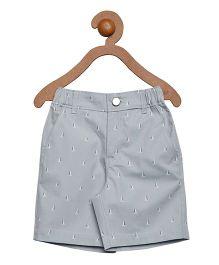 Campana Zipper Shorts Boat Printed -  Grey