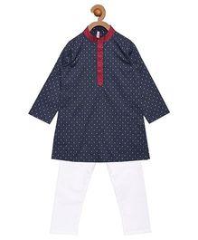 Campana Full Sleeves Kurta Pyjama Set - Blue White