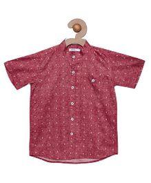 Campana Half Sleeves Printed Shirt - Red