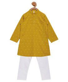 Campana Full Sleeves Kurta Pyjama Set - Yellow White