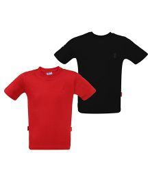 Giraffe Half Sleeves Basic T-Shirt Pack Of 2 - Red & Black