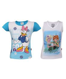 Disney Half Sleeves & Sleeveless Top Printed Pack Of 2 - White Blue