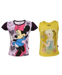 Disney Half Sleeves & Sleeveless Top Printed Pack Of 2 - Dark Purple Yellow