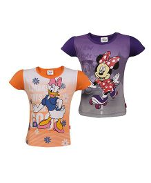 Disney Half Sleeves Top Printed Pack Of 2 - Orange Purple