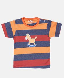 LOL Half Sleeves T-Shirt Embroidered Horse Patch - Orange & Multi