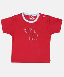 LOL Half Sleeves T-Shirt Embroidered Elephant Patch - Red
