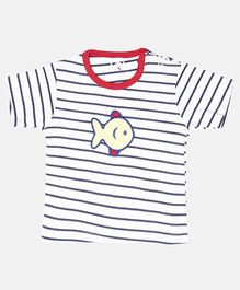 LOL Half Sleeves T-Shirt Embroidered Fish Patch & Stripes Print - White