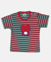 LOL Half Sleeves T-Shirt Stripes Print & Embroidered Patch - Green Red