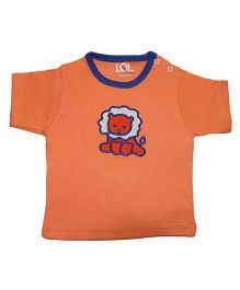 LOL Half Sleeves T-Shirt Embroidered Patch - Orange