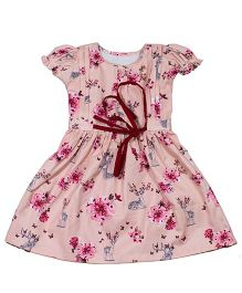 LOL Short Sleeves Front Open Frock Floral Print - Pink