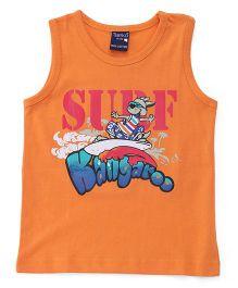 Taeko Sleeveless Tee Surf Kangaroo Print - Orange