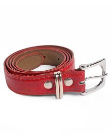 Kid-o-nation Leather Belt With Silver Buckle - Red