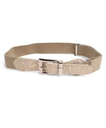 Kid-o-nation Stretchable Belts Plain With Shiny Leather Buckle - Beige