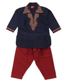 Ethnik's Neu Ron Full Sleeves Embroidered Kurta And Pajama Set - Navy Blue And Maroon