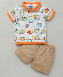 Happy Life Car Print Tee & Shorts - Multicolour