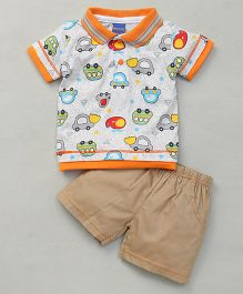 Happy Life Car Print Tee & Shorts - Multicolour