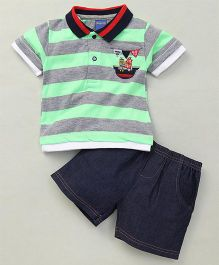 Happy Life Stripes Printed Polo T-Shirt & Shorts Set - Green & Navy